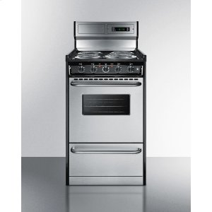 "SummitDeluxe 220v Electric Range In Slim 20"" Width With Stainless Steel Doors"