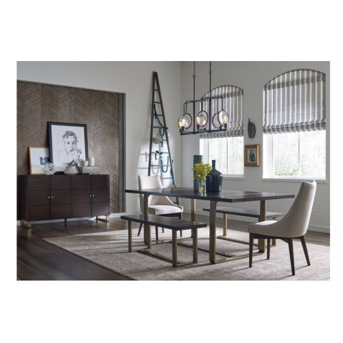 Austin by Rachael Ray Dining Bench w/ Brass Finished Wood Accents