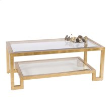 Gold Leaf Two Tier Coffee Table W. Clear Beveled Glass.