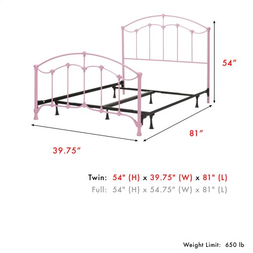 Amberley Fashion Kids Complete Metal Bed and Steel Support Frame with Elegant Curves and Floral Medallion Accents, Cotton Candy Pink Finish, Twin