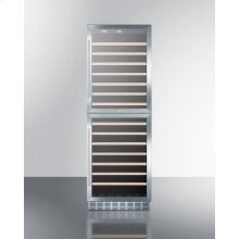 Dual Zone 118 Bottle Wine Cellar With Two Glass Doors and Stainless Steel Wrapped Cabinet; for Built-in or Freestanding Use