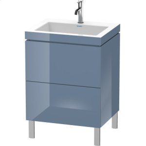 Furniture Washbasin C-bonded With Vanity Floorstanding, Stone Blue High Gloss Lacquer
