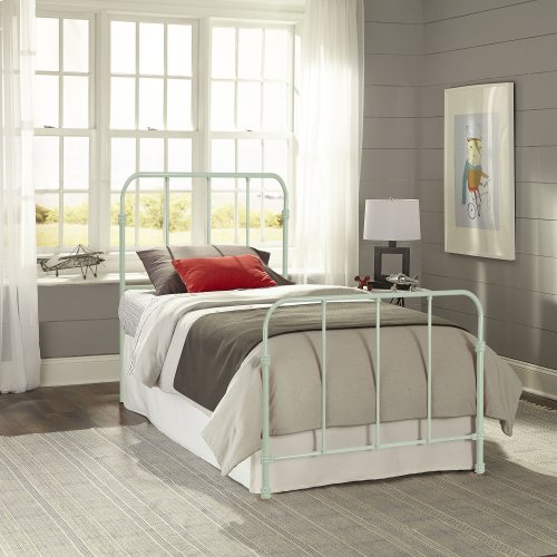 Nolan Fashion Kids Metal Headboard and Footboard Bed Panels with Fun Versatile Design, Mint Green Finish, Twin