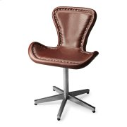 This edgy Accent Chair is riveting, literally and figuratively. Perched atop a nickel-finished metal base, the shapely seat is upholstered in rich, brown leather and trimmed with gleaming rivets that swoop around to the metallic back and seat base. Product Image