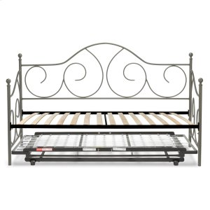 Caroline Complete Metal Daybed with Euro Top Spring Support Frame and Pop-Up Trundle Bed, Flint Finish, Twin -