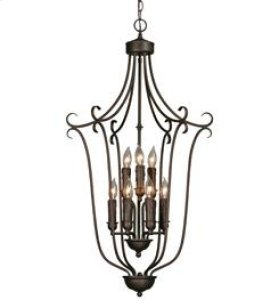 Multi-Family 2 Tier - 9 Light Caged Foyer in Rubbed Bronze with Drip Candlesticks