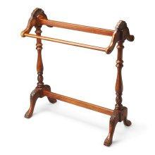 Made from solid woods. Hand carved appointments. Horizontal rails for hanging quilts, comforters and bedspreads.