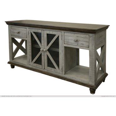 2 Drawer, 2 Door, Sofa Table, Gray finish