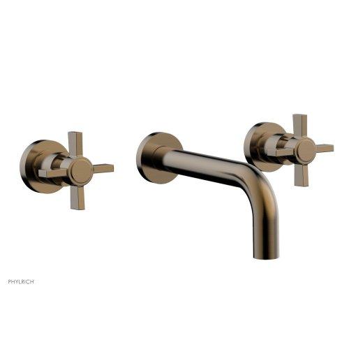 Basic Wall Tub Set - Blade Cross Handles D1137 - Antique Brass