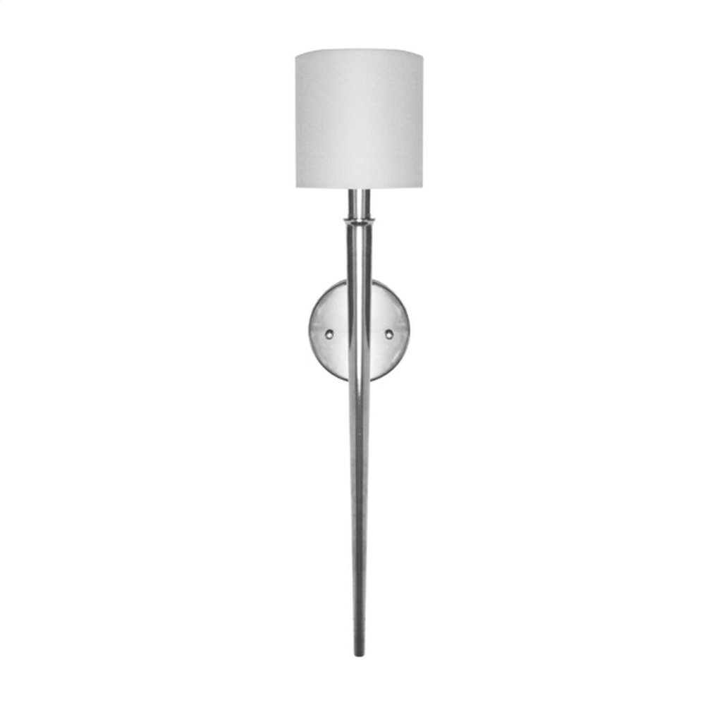 Modern Torch Sconce In Nickel With White Linen Shade - Ul Approved for One 40 Watt Candelabra Bulb
