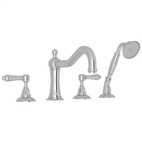 Polished Chrome Acqui 4-Hole Deck Mount Column Spout Tub Filler With Handshower with Metal Lever