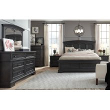 Townsend Arched Panel Bed w/Storage Footboard, CA King 6/0