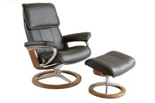 Stressless Admiral Medium Signature Base Chair and Ottoman