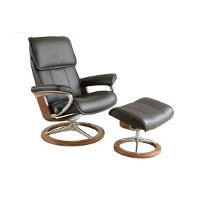 Stressless Admiral Medium Signature Base Chair and Ottoman
