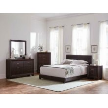 Dorian Brown Faux Leather Upholstered Queen Bed