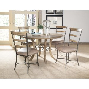 Hillsdale FurnitureCharleston 5pc Round Dining With Ladderback Chairs- All Wood Table With Metal Ring