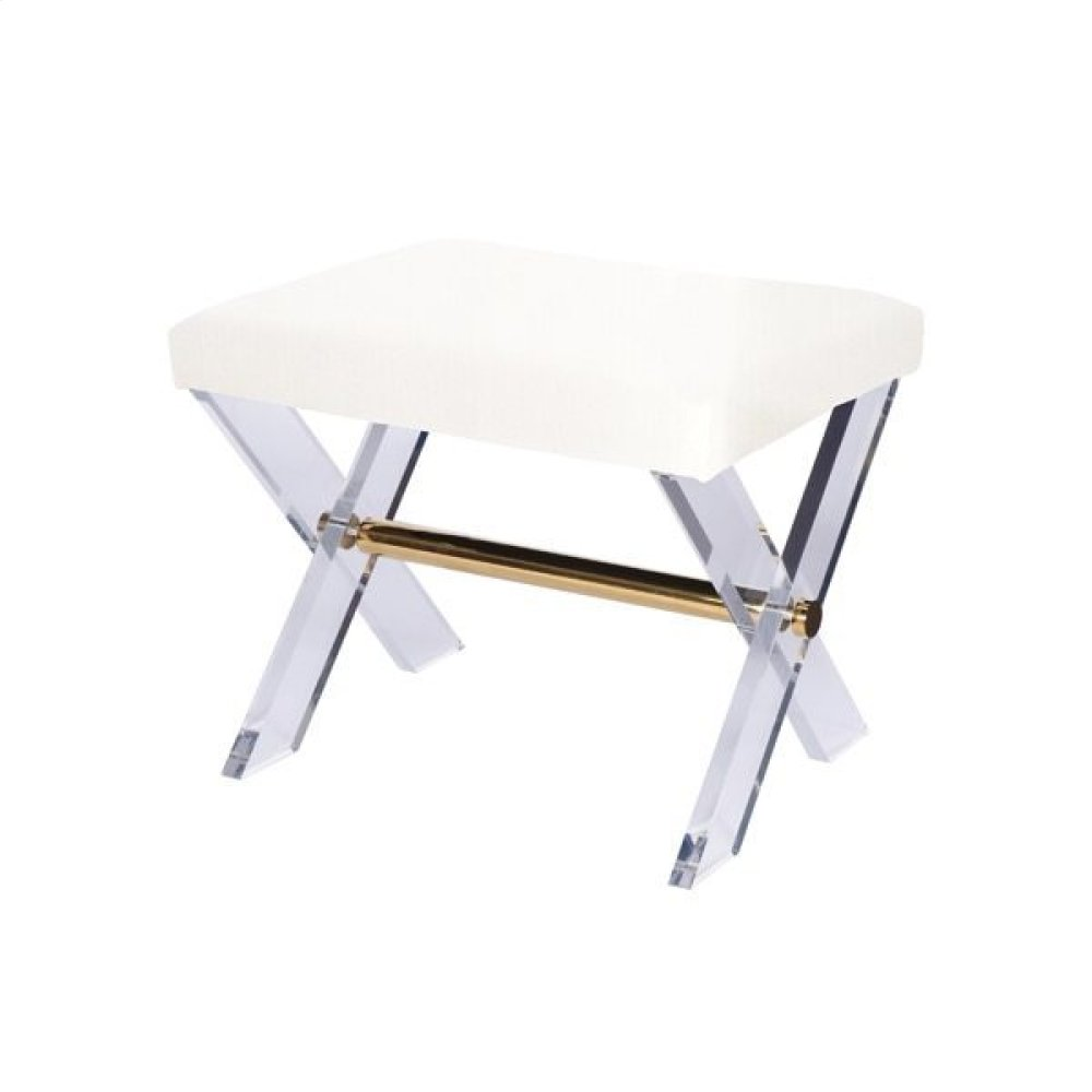 Lucite X Base Stool With Brass Stretcher & White Linen Upholstered Cushion.