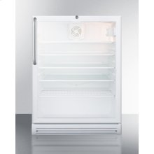 """Commercially Listed ADA Compliant 5.5 CU.FT. Freestanding Beverage Center In A 24"""" Footprint, With White Cabinet, Glass Door, Towel Bar Handle, and Lock"""