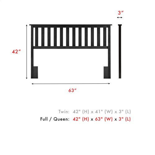 Belmont Wood Headboard Panel with Flat Top Rail and Slatted Grill Design, Black Finish, Full / Queen