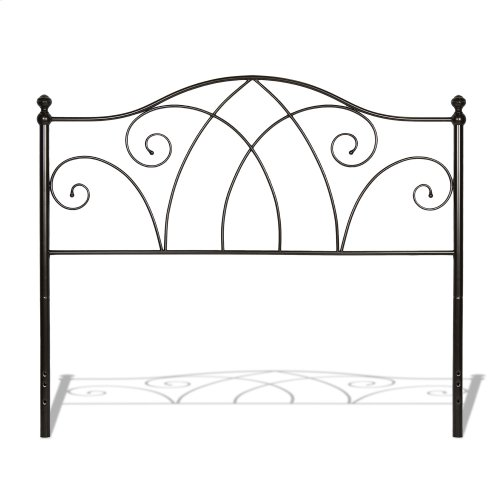 Deland Complete Metal Bed and Steel Support Frame with Arched Rails and Finial Posts, Brown Sparkle Finish, King