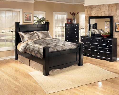 Ashley Queen Poster Bed w/ Storage