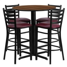 30'' Round Walnut Laminate Table Set with 4 Ladder Back Metal Barstools - Burgundy Vinyl Seat