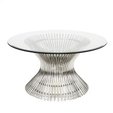 "Stainless Coffee Table With 30""dia Glass"