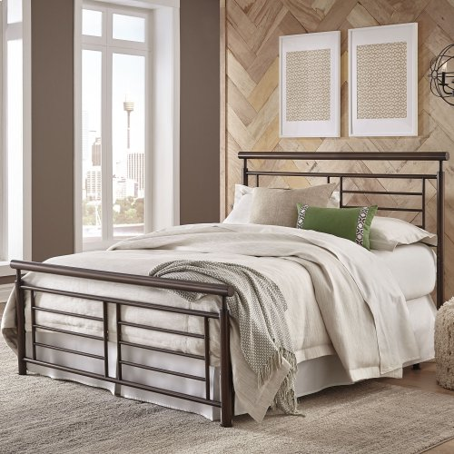 Southport Metal Headboard and Footboard Bed Panels with Geometric Grills and Rounded Top Rails, Copper Penny Finish, King