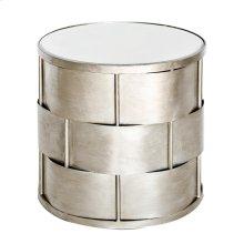 Basket-weave Side Table In Silver Leaf W. Beveled Mirror Top.