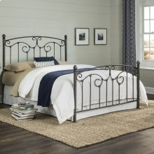 Hinsdale Complete Metal Bed with Sloping Top rails and Vertical Spindles, Antiqued Pewter Finish, Full