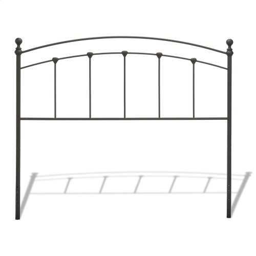 Sanford Bed with Metal Panels and Round Finial Posts, Matte Black Finish, King