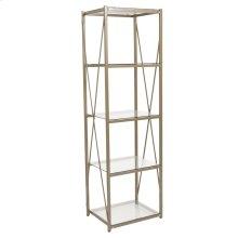 Glass Storage Shelf with Matte Gold Frame