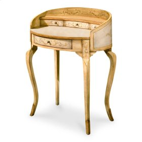 """Unique hand painted design on selected hardwoods and wood products. One large drawer and three smaller drawers with antique brass finished hardware. All drawers are felt lined."""""""""""""""