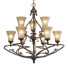 Loretto 2 Tier - 9 Light Chandelier in Russet Bronze with Riffled Tannin Glass