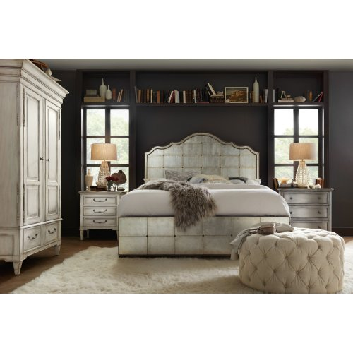 Bedroom Arabella Queen Mirrored Panel Bed