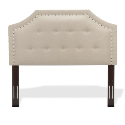 Avignon Button-Tuft Upholstered Headboard with Adjustable Height and Contrast Tape Nailhead Trim, Linen Natural Finish, Twin