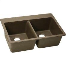 """Elkay Quartz Classic 33"""" x 22"""" x 9-1/2"""", Equal Double Bowl Drop-in Sink, Mocha"""