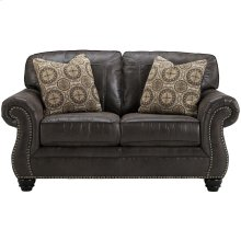 Benchcraft Breville Loveseat in Charcoal Faux Leather