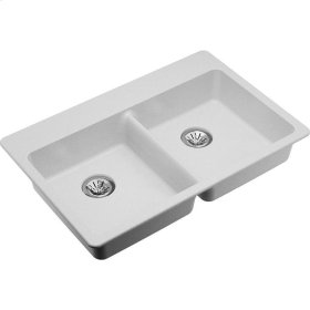 """Elkay Quartz Classic 33"""" x 22"""" x 5-1/2"""", Double Bowl Drop-in ADA Sink with Perfect Drain, White"""
