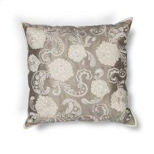 "L179 Silver Floral Pillow 18"" X 18"""