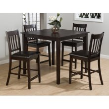 5 Pack - Table and 4 Slat Back Stools