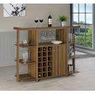 Modern Walnut Bar Unit With Wine Bottle Storage Product Image
