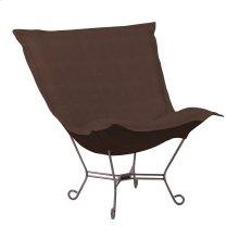 Scroll Puff Chair Sterling Chocolate Titanium Frame