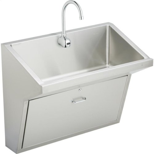 "Elkay Stainless Steel 33"" x 16-13/16"" x 30"", Wall Hung Single Station Surgeon Scrub Sink Kit"