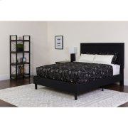 King Size Tufted Upholstered Platform Bed in Black Fabric