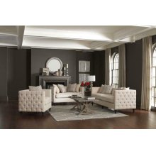Claxton Traditional Oatmeal Tufted Three-piece Living Room Set
