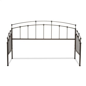 Fenton Metal Daybed Frame with Gentle Curves and Spindle Panels, Black Walnut Finish, Twin