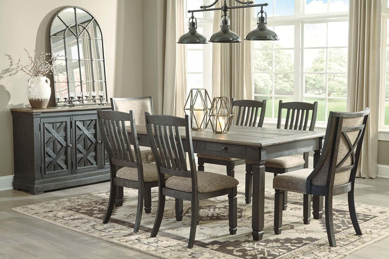 7 piece dining room set pedestal tyler creek blackgray piece dining room set d736d7 in by ashley furniture orange ca black