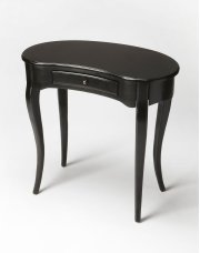 This elegant Writing Desk features a crescent shape tabletop supported by four stylized, tapered cabriole legs and a drawer with antique brass-finished hardware. It is crafted from solid poplar and cherry veneer in a Black Licorice finish. Product Image