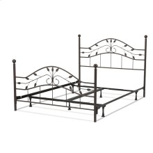 Sycamore Complete Bed with Arched Metal Duo Panels and Leaf Pattern Design, Hammered Copper Finish, King